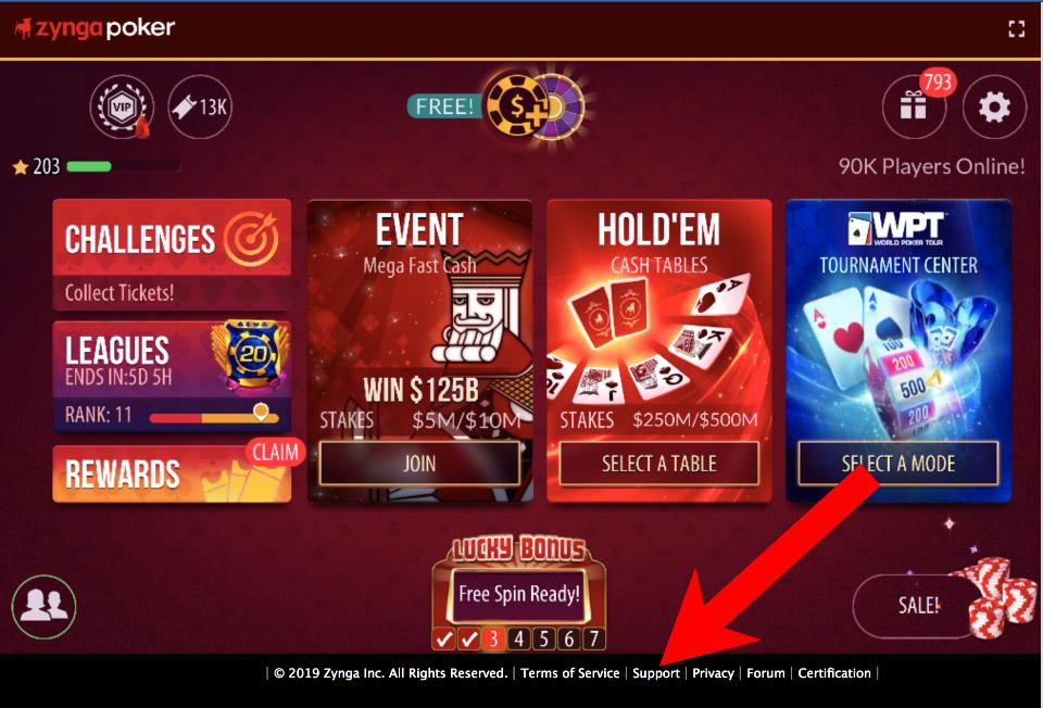 Zynga Poker support